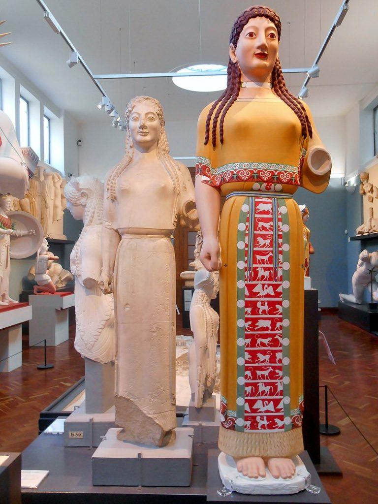 painted greek sculptures color ancient