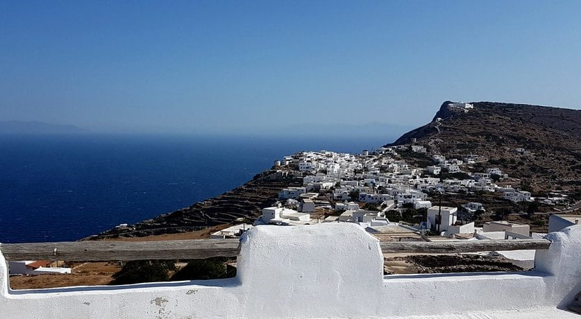 View of Kastor, the largest village on the island of Sikinos, Greece