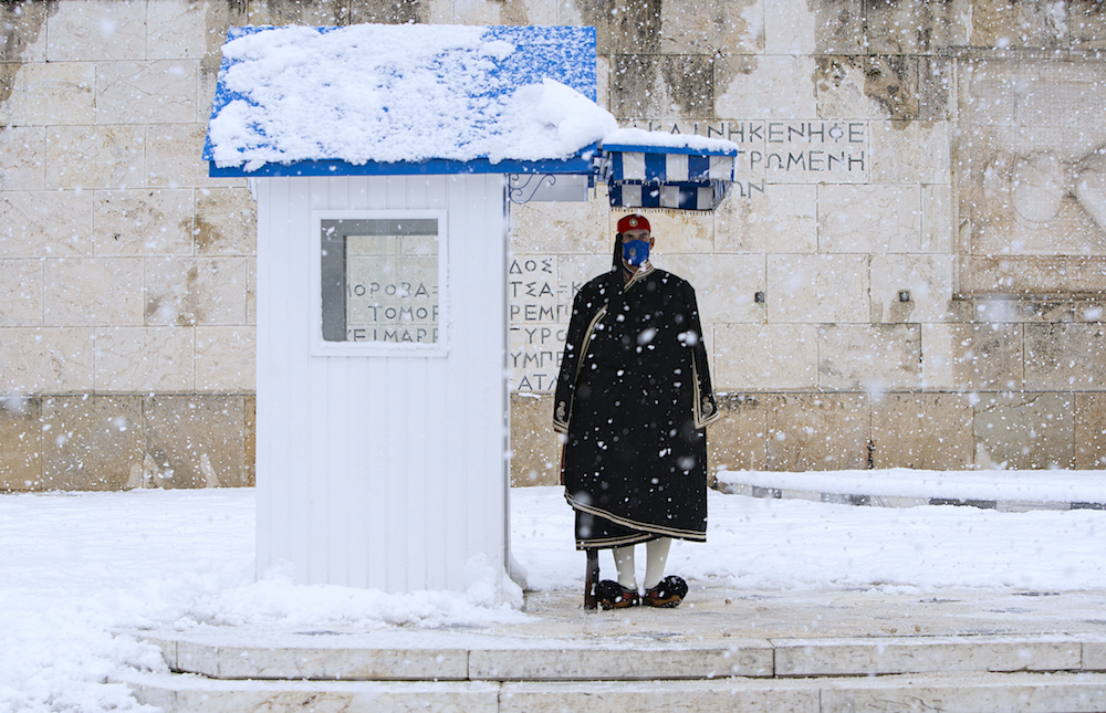 Greece covered in snow