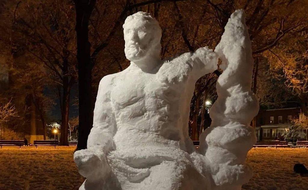 Hippocrates snow sculpture