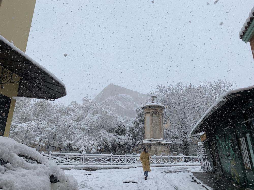 plaka athens snow storm