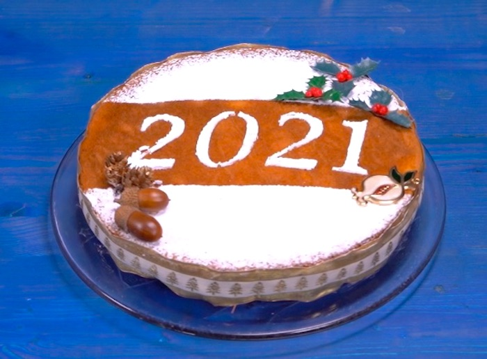 Vasilopita is a cake with a hidden coin inside traditionally consumed on New Year's Eve