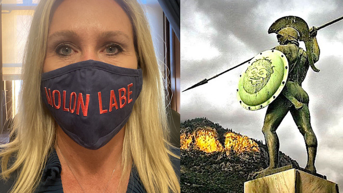 Taylor Greene with a Molon Labe mask