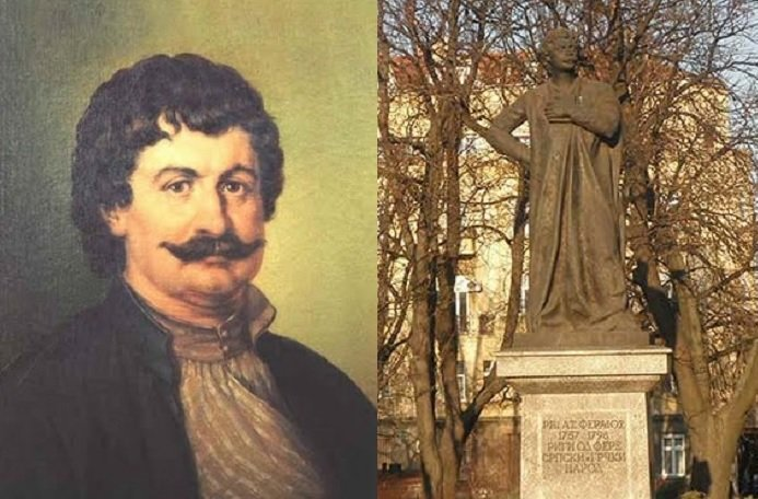 Rigas Feraios and his statue in Belgrade