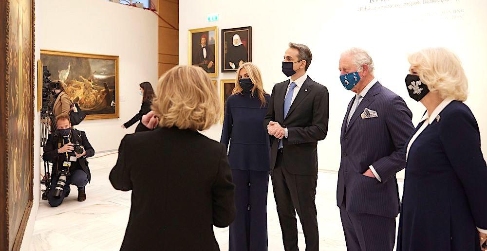 Kyriakos Mitsotakis, Prince Charles and Camilla at the National Gallery