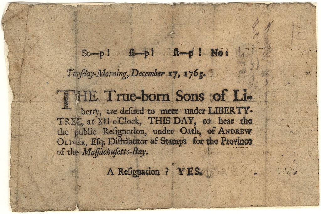 Sons of Liberty broadsheet