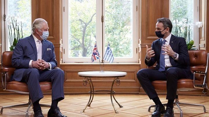 Prince Charles meets Greek PM Mitsotakis