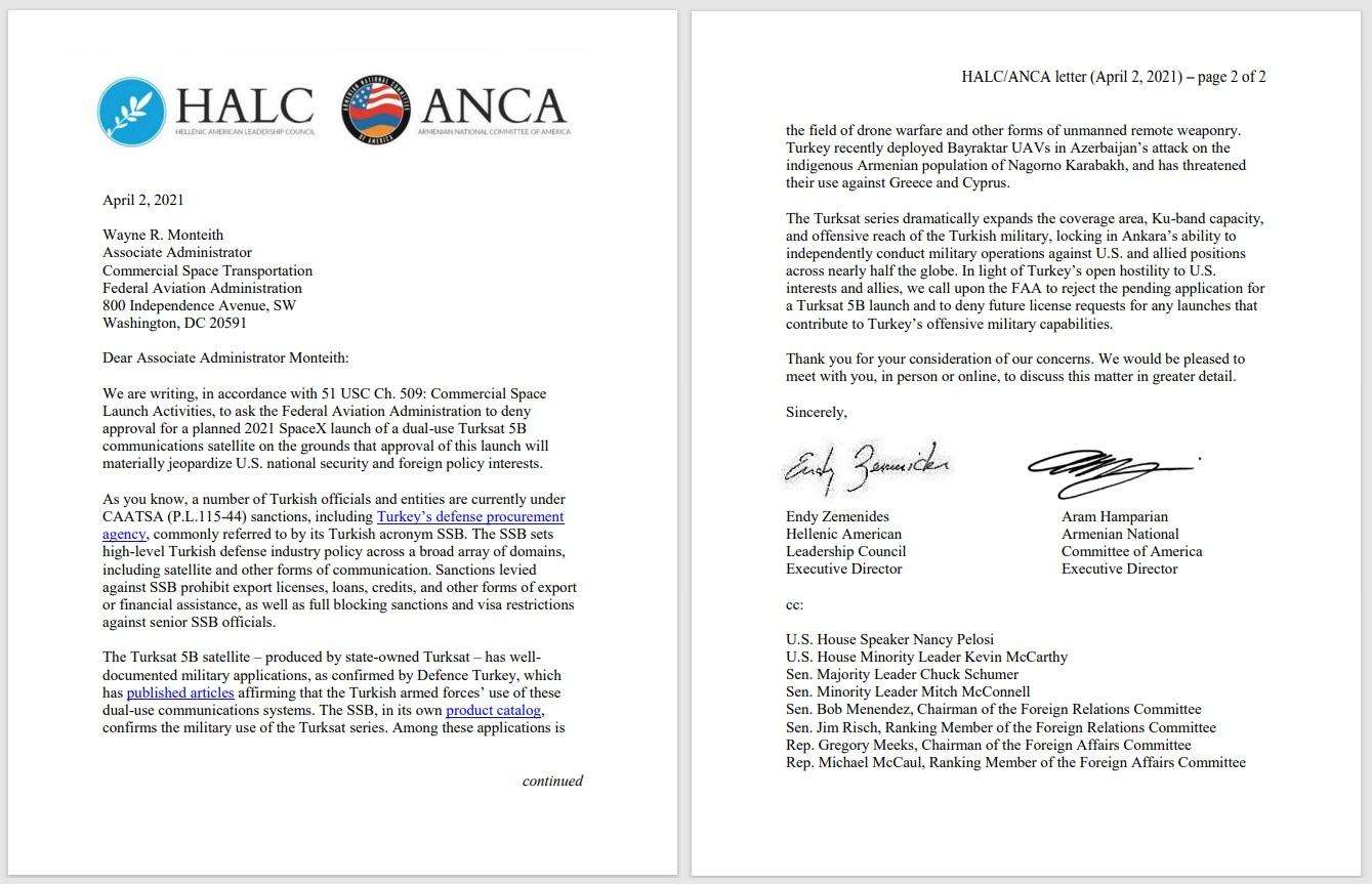 Hellenic American Leadership Council letter Turkey satellite block