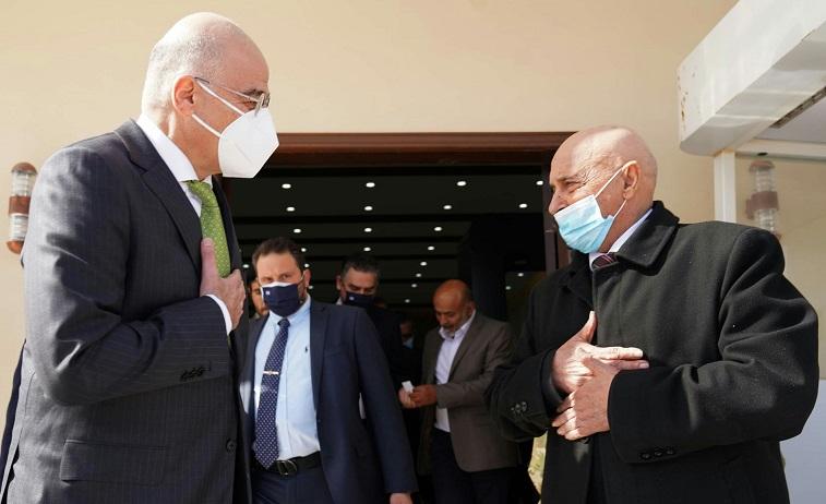 """Greek Foreign Minister Nikos Dendias had a """"cordial meeting"""" with Libya's House of Representatives President Aguila Saleh. Credit: Twitter / Nikos Dendias @NikosDendias"""