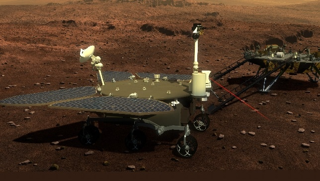 Artist's impression of the Zhurong rover surveying the surface of Mars