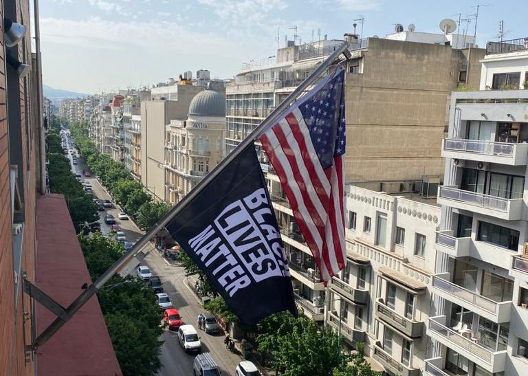 Malliotakis US embassy BLM FLag