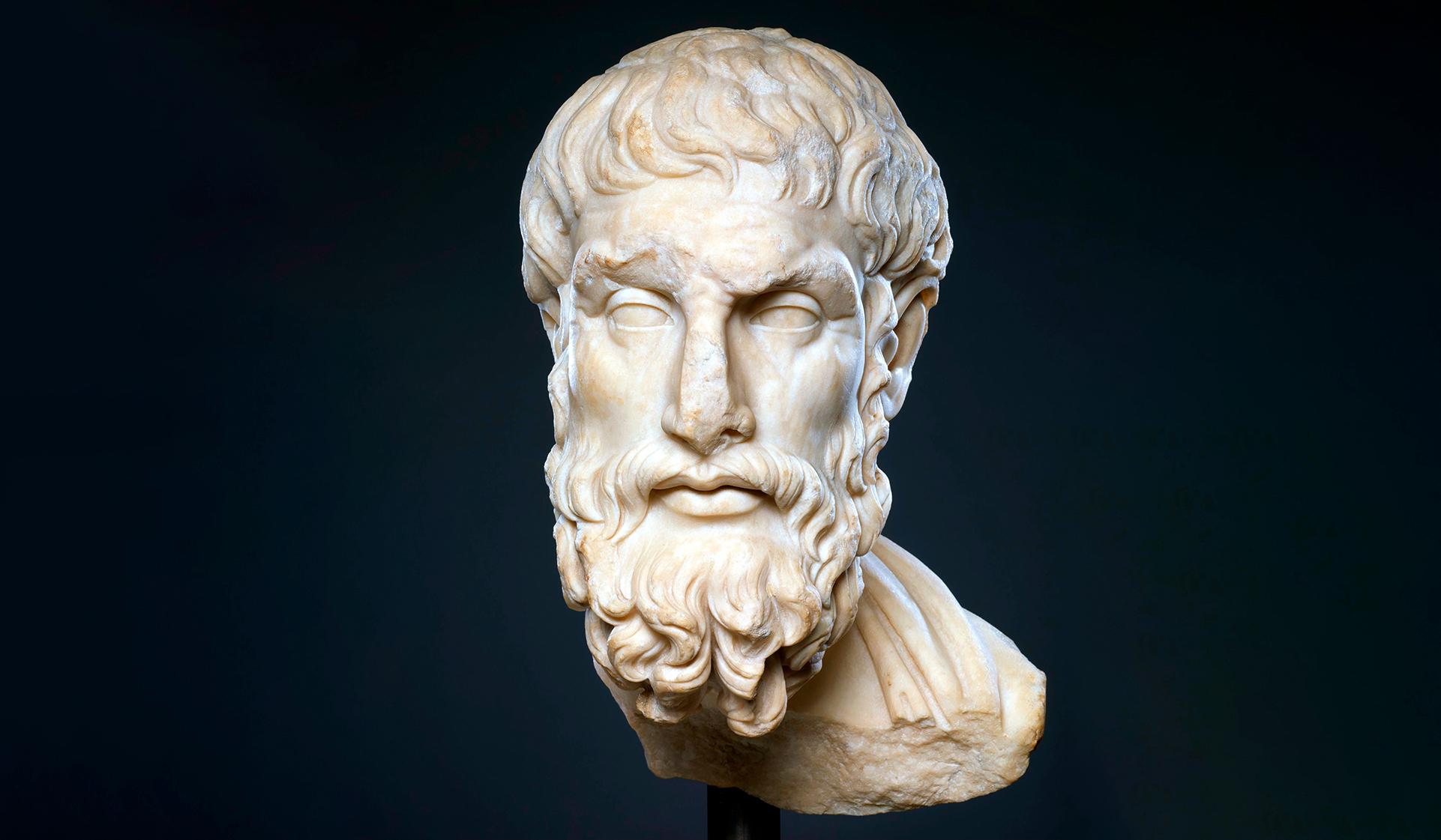 Marble head of Epicurus/Public Domain Covid-19