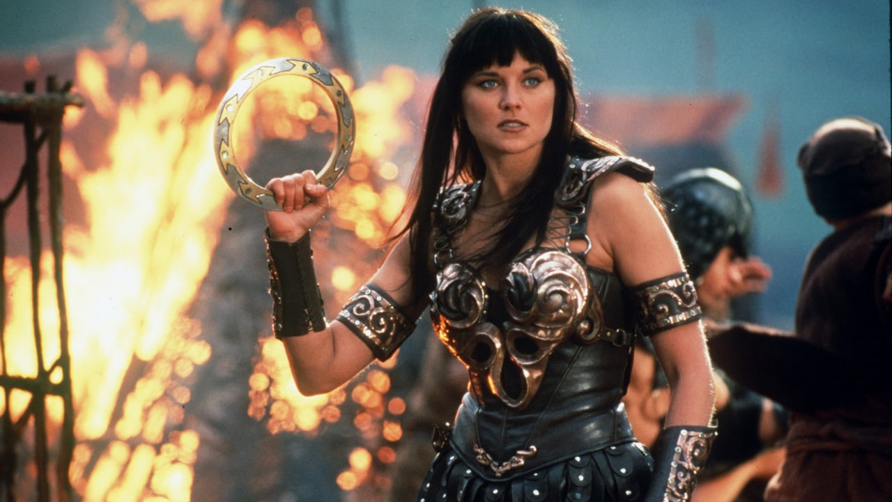 Xena, played by Lucy Lawless