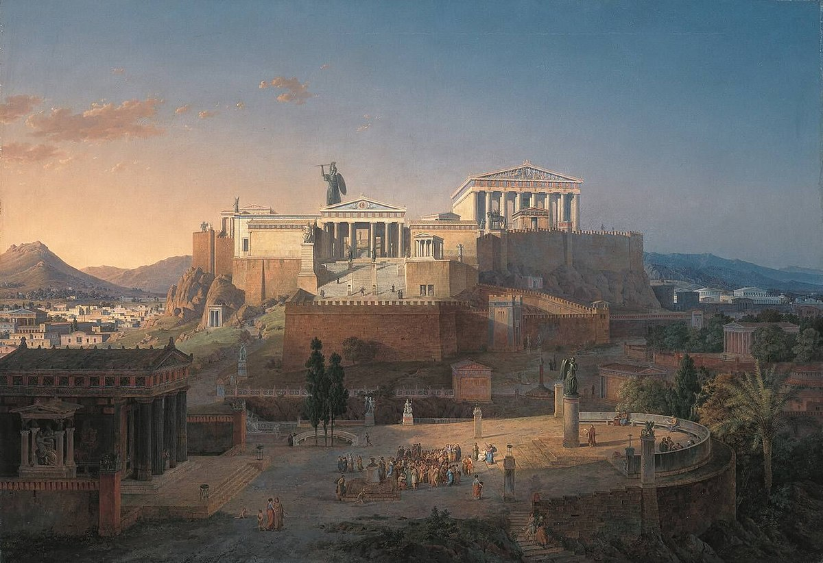Idealized recreation of the Acropolis, including the Parthenon