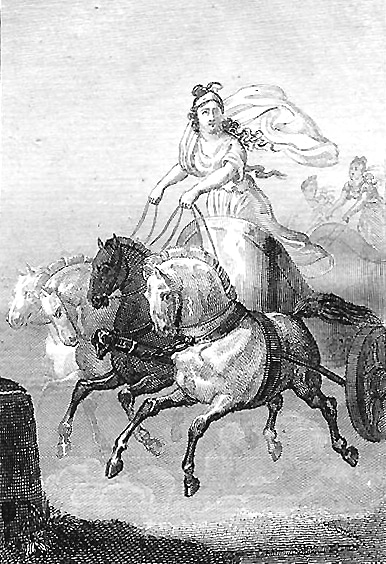 Kyniska drawn with her horses in the Biography of Illustrious Women of Rome