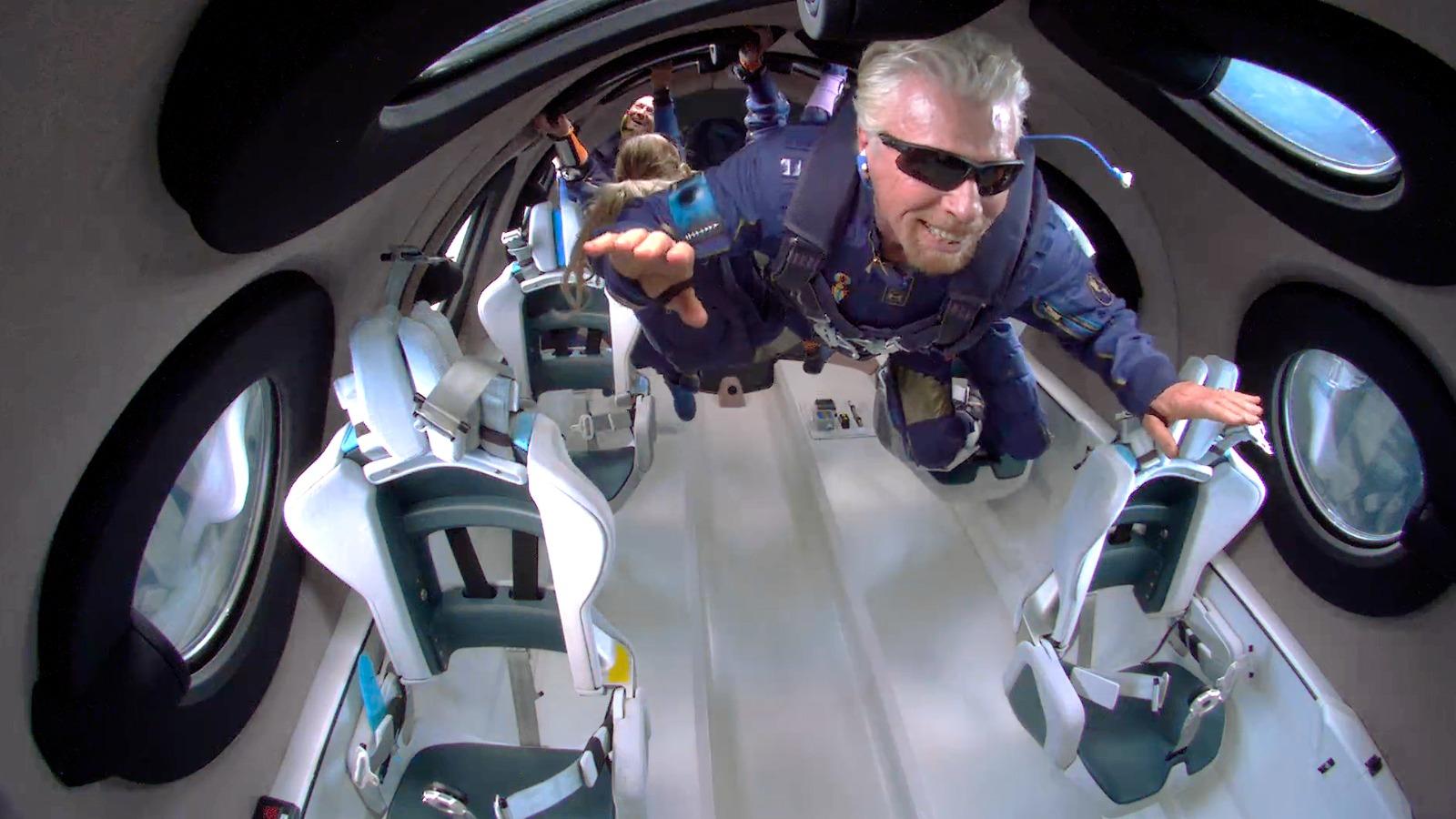 Richard Branson aboard the Virgin Galactic Unity 22