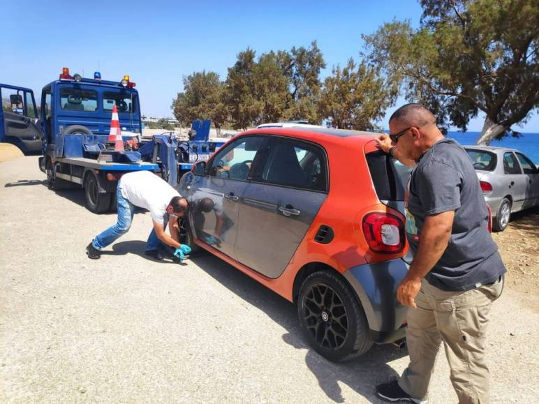 Police examine car of French tourist Violet Gigano