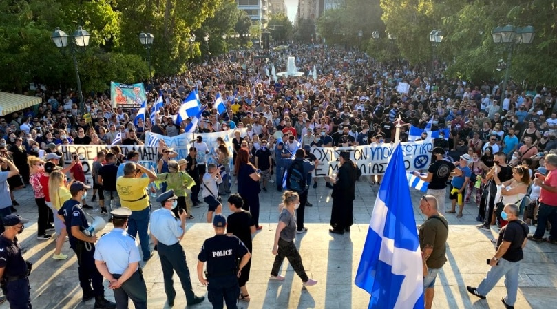 Protest against mandatory vaccination greece