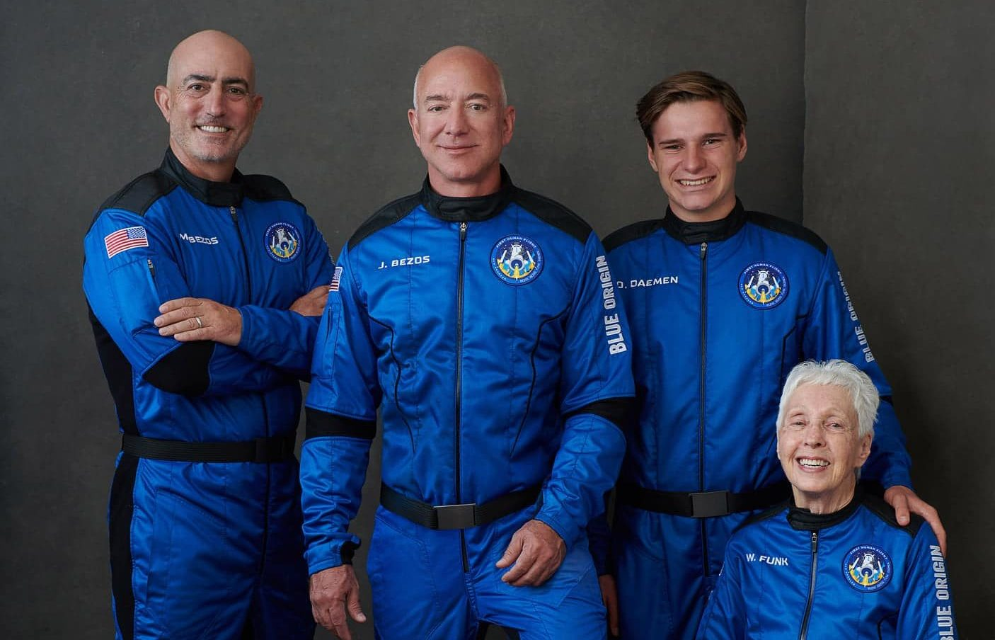 Jeff Bezos with his crew on the first Blue Origin flight into space