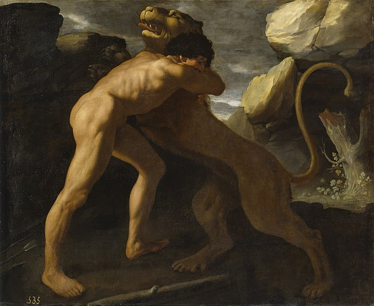 Hercules fighting with the Nemean lion