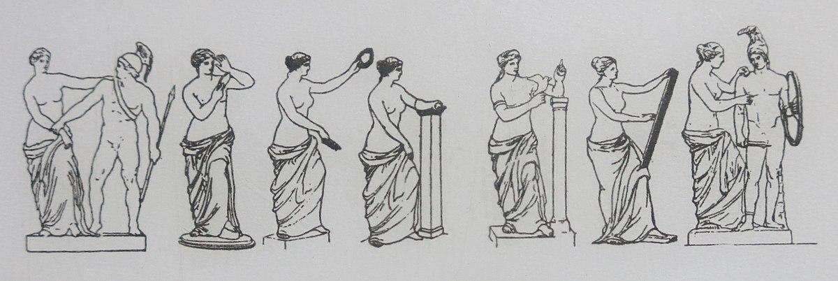 Hypotheses about the arms of the Venus de Milo. Louvre museum (Paris, France).