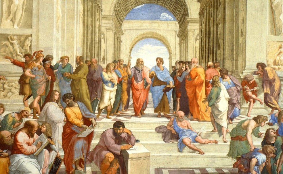 The school of Athens shows the most important ancient Greek philosophers, scientists and mathematicians of the classical age.