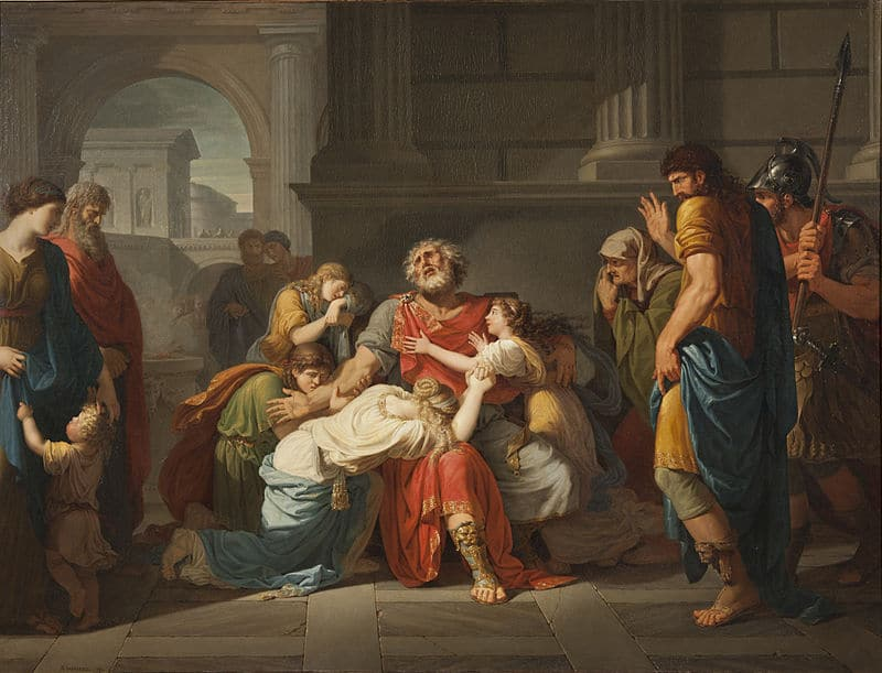 Oedipus blind entrusting his children to the gods