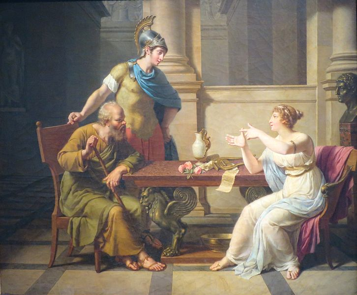 A painting depicting a debate between Socrates and Aspasia in athens