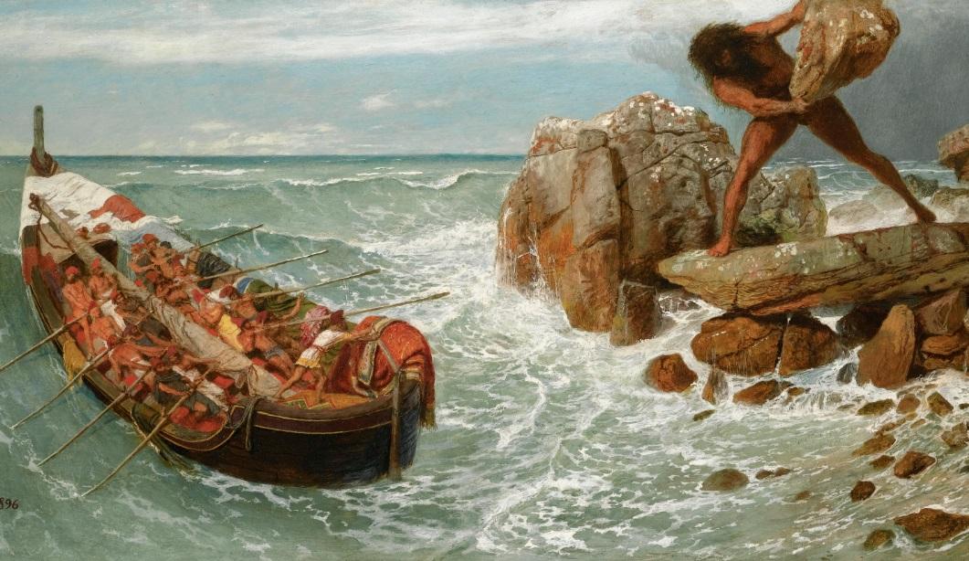 Odysseus and his crew escape the Cyclops Polyphemus. Odyssey homer
