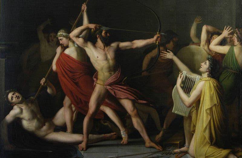Ο Οδυσσέας και ο Τηλέμαχος σκοτώνουν μνηστήρες την Πηνελόπη, την Οδύσσεια του Ομήρου