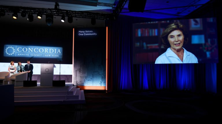 Laura Bush, Former First Lady of the US, Awarded at Concordia Summit