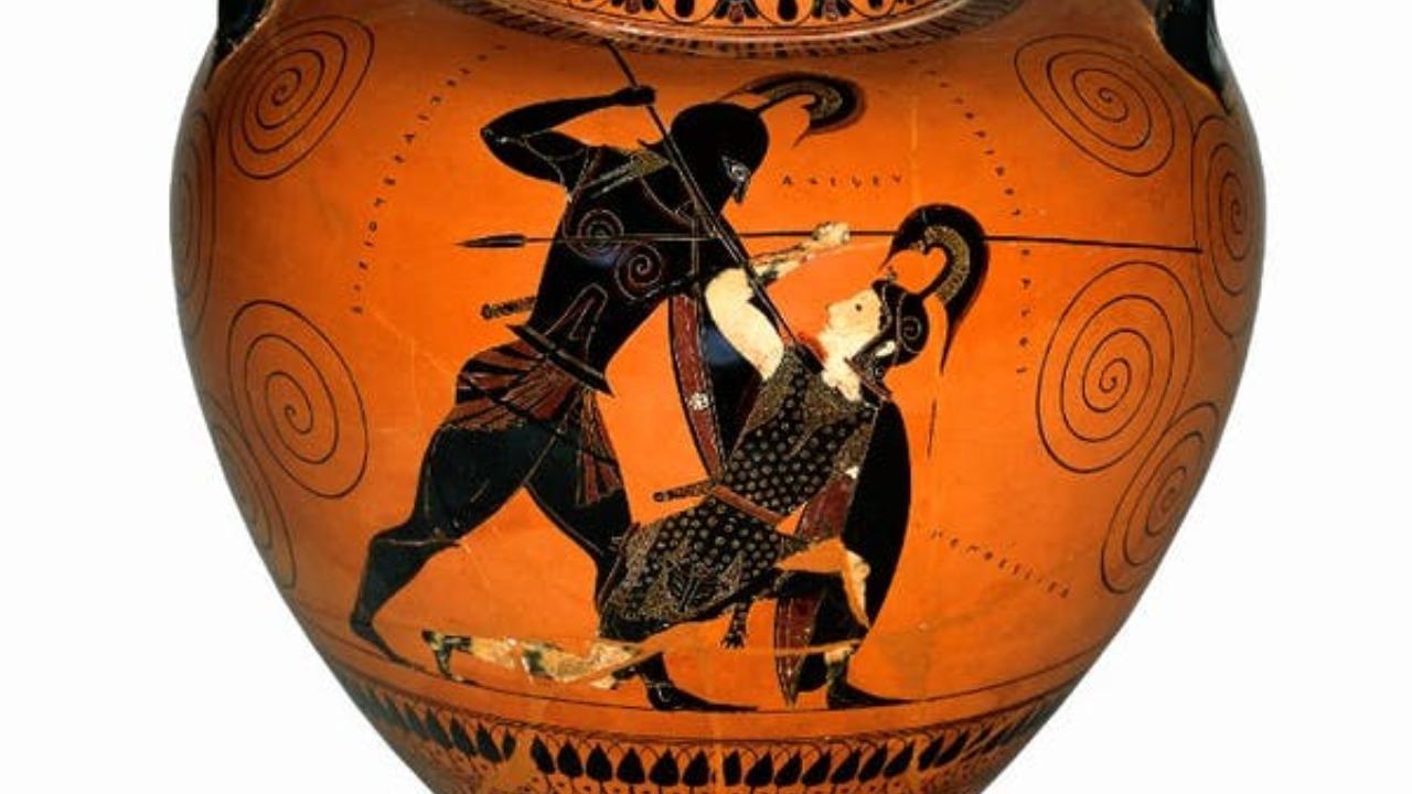 Achilles slaying Amazon queen Penthesilea in combat
