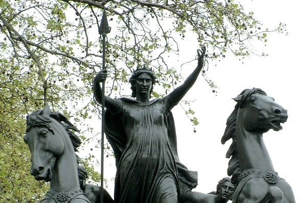 Boudica woman statue on the Thames Embankment in London