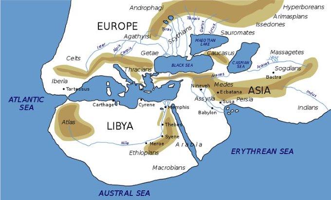World map Herodotus